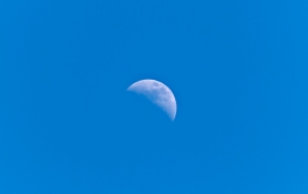 Daymoon against one of the bluest skies I've seen
